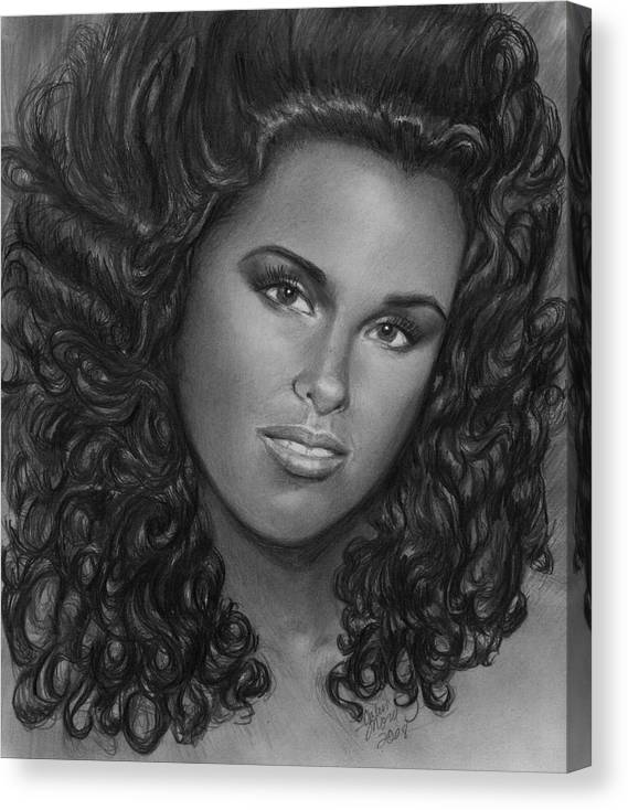 Canvas Print featuring the drawing Alicia Keys by Carliss Mora