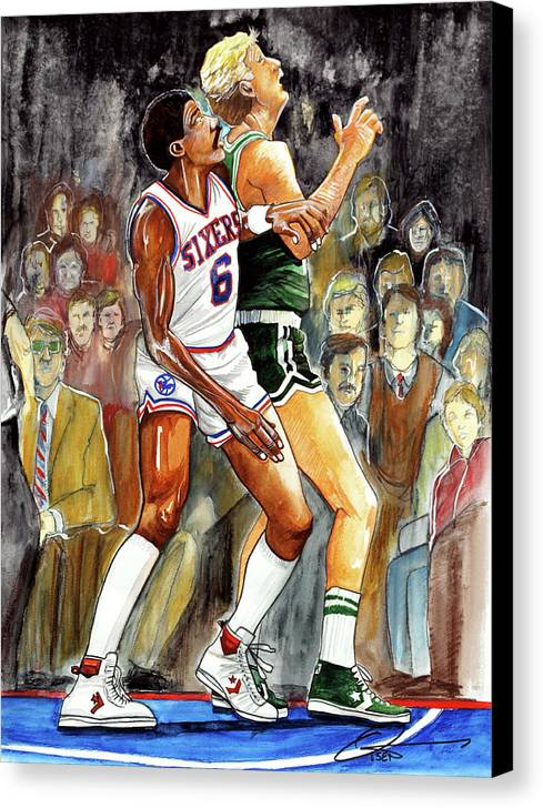 Larry Bird Canvas Print featuring the painting Dr.j Vs. Larry Bird by Dave Olsen