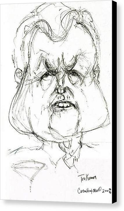 Political Cartoon Kennedy Graphite Paper Satire Canvas Print featuring the drawing Ted Kennedy by Cartoon Hempman