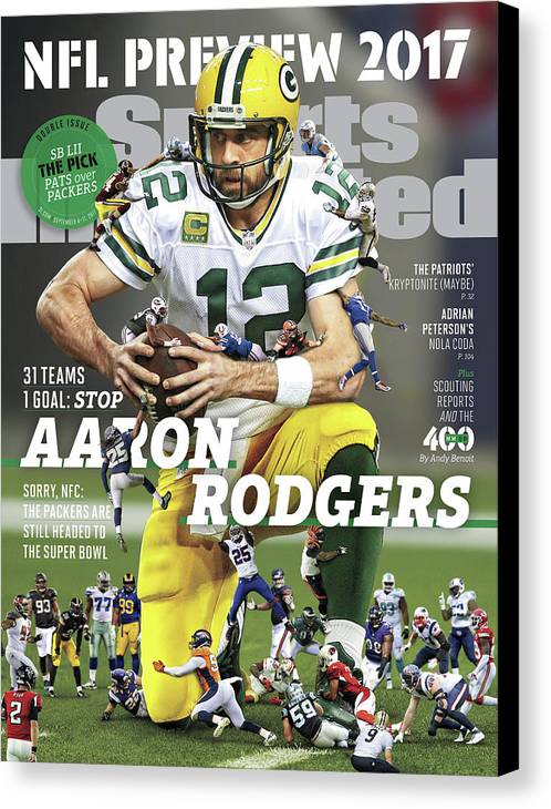 Season Canvas Print featuring the photograph 31 Teams, 1 Goal Stop Aaron Rodgers, 2017 Nfl Football Sports Illustrated Cover by Sports Illustrated