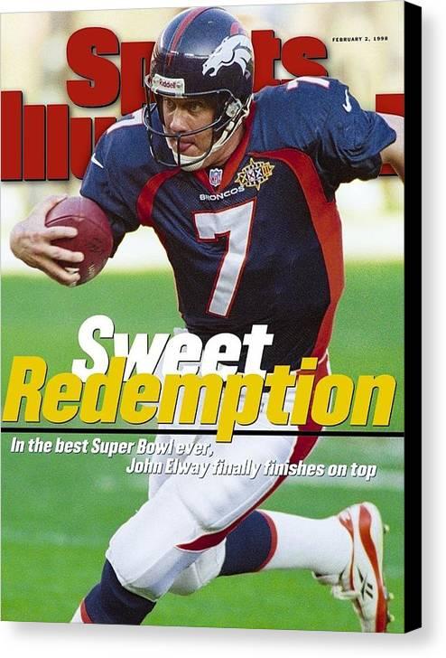 California Canvas Print featuring the photograph Denver Broncos Qb John Elway, Super Bowl Xxxii Sports Illustrated Cover by Sports Illustrated