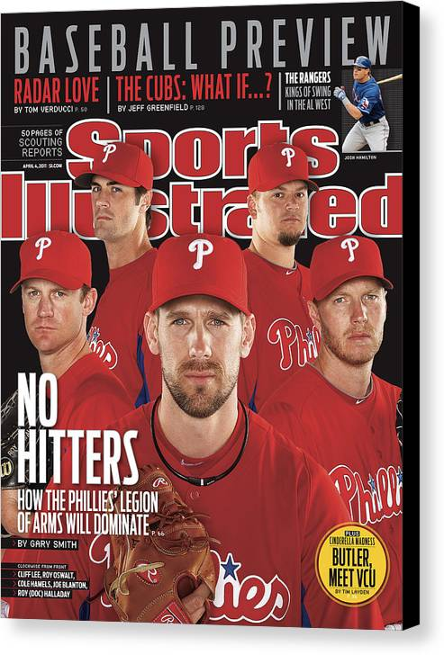 Clearwater Canvas Print featuring the photograph Philladelphia Phillies Starting Five, 2011 Mlb Baseball Sports Illustrated Cover by Sports Illustrated