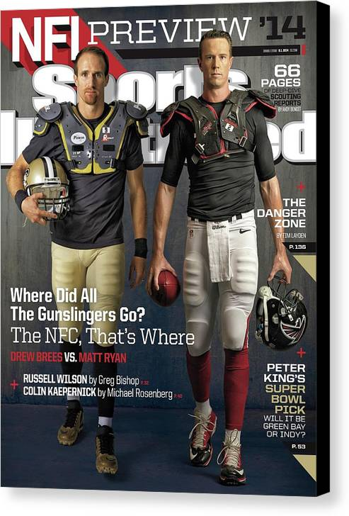 Magazine Cover Canvas Print featuring the photograph Nfc Gunslingers 2014 Nfl Football Preview Issue Sports Illustrated Cover by Sports Illustrated
