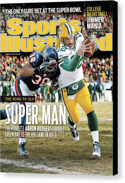 Magazine Cover Canvas Print featuring the photograph 2011 Nfc Championship Green Bay Packers V Chicago Bears Sports Illustrated Cover by Sports Illustrated