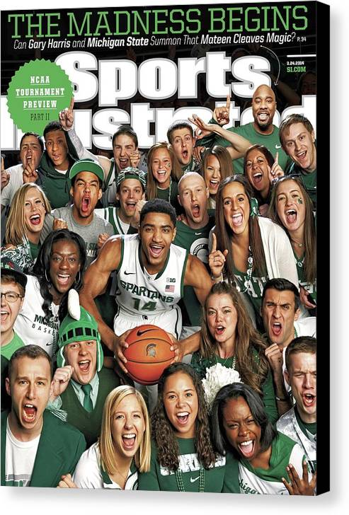 Michigan State University Canvas Print featuring the photograph 2014 March Madness College Basketball Preview Part II Sports Illustrated Cover by Sports Illustrated