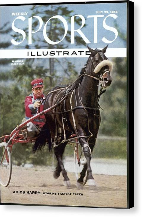 Horse Canvas Print featuring the photograph Adios Harry, Harness Racing Sports Illustrated Cover by Sports Illustrated