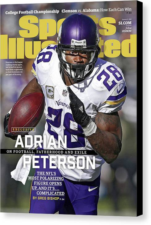 Magazine Cover Canvas Print featuring the photograph Adrian Peterson Exclusive On Football. Fatherhood And Exile Sports Illustrated Cover by Sports Illustrated