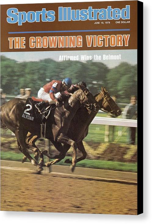 Horse Canvas Print featuring the photograph Affirmed And Alydar, 1978 Belmont Stakes Sports Illustrated Cover by Sports Illustrated