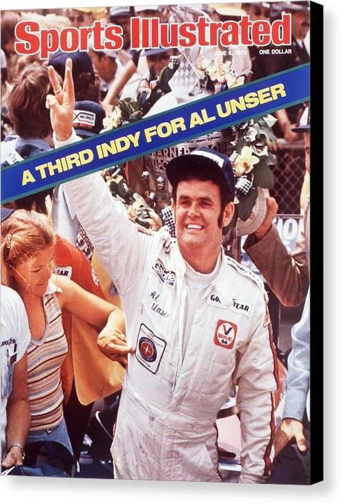 Magazine Cover Canvas Print featuring the photograph Al Unser, 1978 Indy 500 Sports Illustrated Cover by Sports Illustrated