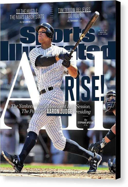 Magazine Cover Canvas Print featuring the photograph All Rise The Yankees Youth Movement Is In Session. The Sports Illustrated Cover by Sports Illustrated
