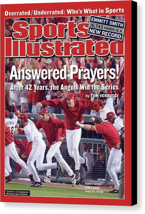 Magazine Cover Canvas Print featuring the photograph Anaheim Angels John Lackey, 2002 World Series Sports Illustrated Cover by Sports Illustrated