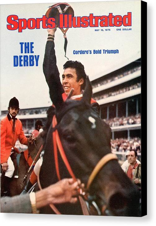 Horse Canvas Print featuring the photograph Angel Cordero, 1976 Kentucky Derby Sports Illustrated Cover by Sports Illustrated