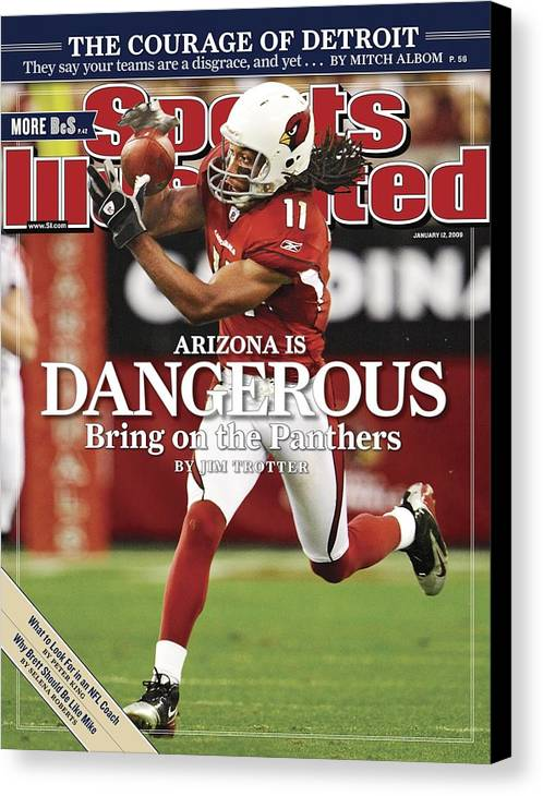 Larry Fitzgerald Canvas Print featuring the photograph Arizona Cardinals Larry Fitzgerald, 2009 Nfc Wild Card Sports Illustrated Cover by Sports Illustrated
