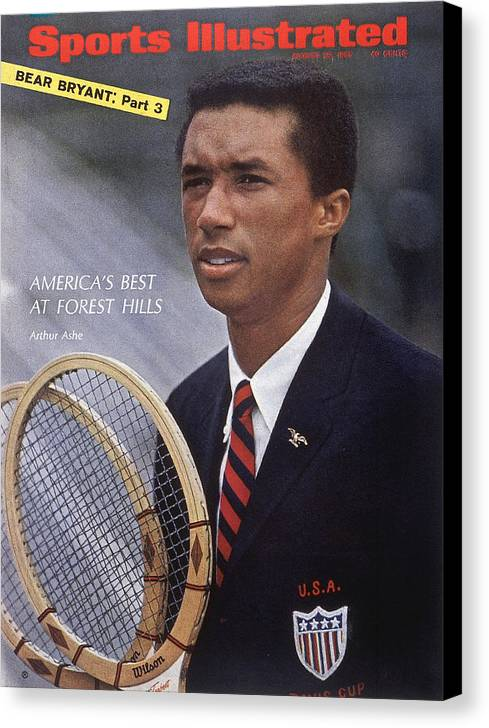 Magazine Cover Canvas Print featuring the photograph Arthur Ashe, Tennis Sports Illustrated Cover by Sports Illustrated