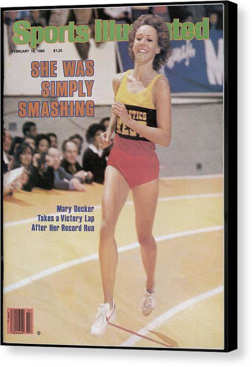 Magazine Cover Canvas Print featuring the photograph Athletics West Mary Decker, 1980 Millrose Games Sports Illustrated Cover by Sports Illustrated