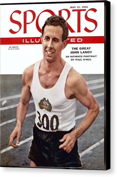 Magazine Cover Canvas Print featuring the photograph Australia John Landy, 1954 British Empire And Commonwealth Sports Illustrated Cover by Sports Illustrated