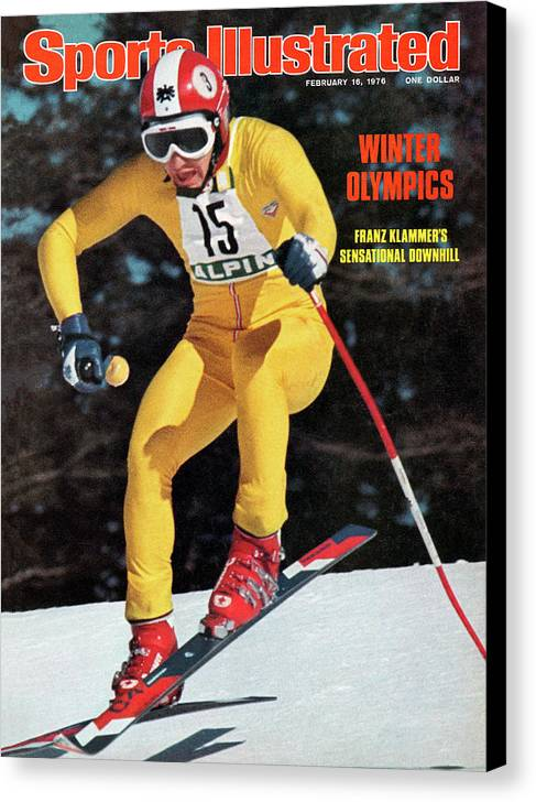 Magazine Cover Canvas Print featuring the photograph Austria Franz Klammer, 1976 Winter Olympics Sports Illustrated Cover by Sports Illustrated