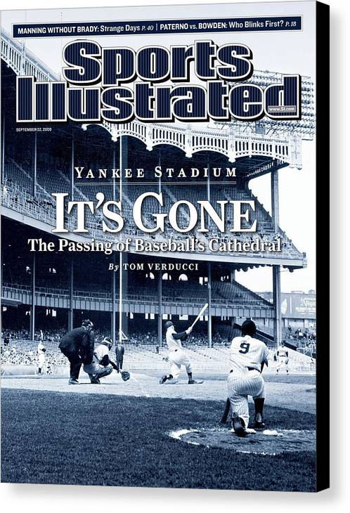 Magazine Cover Canvas Print featuring the photograph Baseball New York Yankees Micke... Sports Illustrated Cover by Sports Illustrated