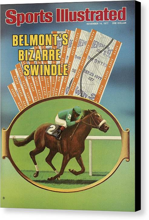 Horse Canvas Print featuring the photograph Belmonts Bizarre Swindle Sports Illustrated Cover by Sports Illustrated