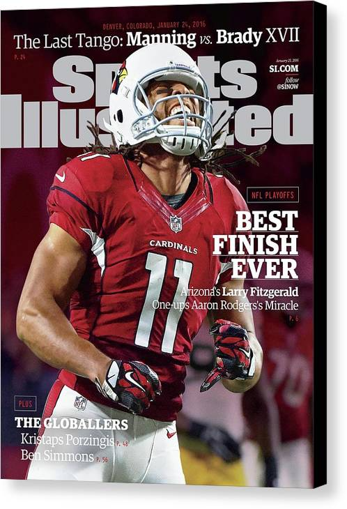 Larry Fitzgerald Canvas Print featuring the photograph Best Finish Ever Arizonas Larry Fitzgerald One-ups Aaron Sports Illustrated Cover by Sports Illustrated