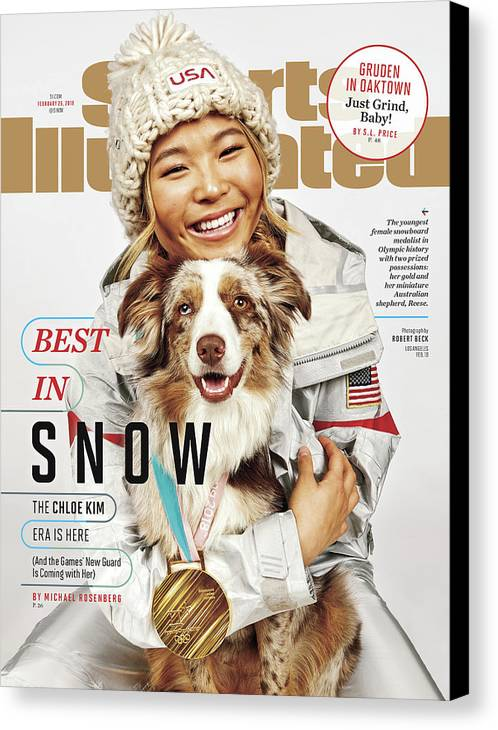 Magazine Cover Canvas Print featuring the photograph Best In Snow The Chloe Kim Era Is Here Sports Illustrated Cover by Sports Illustrated