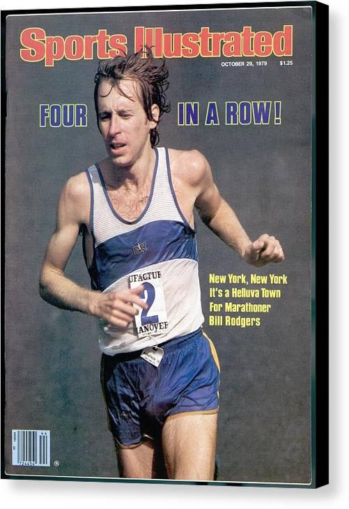 Magazine Cover Canvas Print featuring the photograph Bill Rogers, 1979 New York City Marathon Sports Illustrated Cover by Sports Illustrated