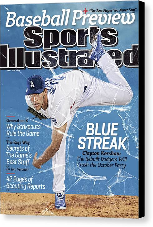 Magazine Cover Canvas Print featuring the photograph Blue Streak, 2013 Mlb Baseball Preview Issue Sports Illustrated Cover by Sports Illustrated