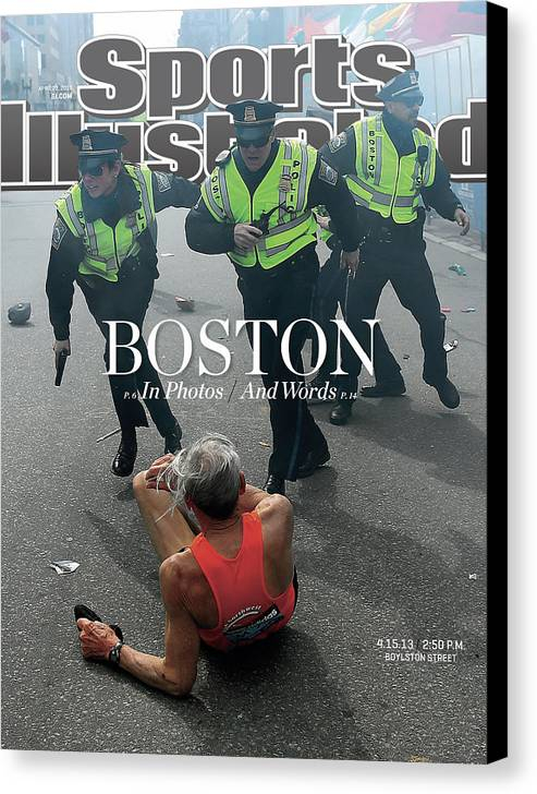 Magazine Cover Canvas Print featuring the photograph Boston Bombing Sports Illustrated Cover by Sports Illustrated