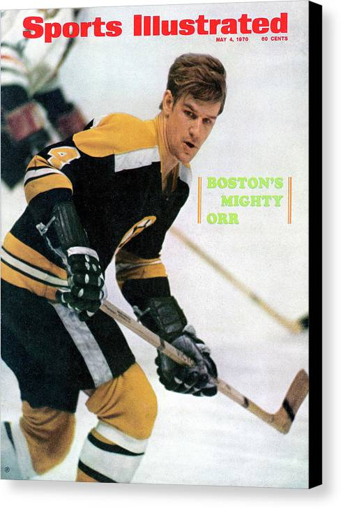 Playoffs Canvas Print featuring the photograph Boston Bruins Bobby Orr, 1970 Nhl Eastern Division Sports Illustrated Cover by Sports Illustrated