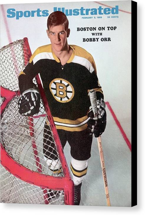 Magazine Cover Canvas Print featuring the photograph Boston Bruins Bobby Orr Sports Illustrated Cover by Sports Illustrated