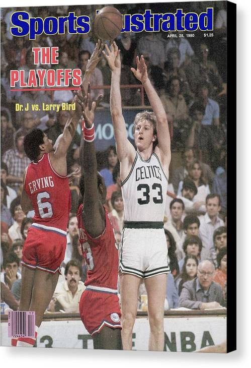 Magazine Cover Canvas Print featuring the photograph Boston Celtics Larry Bird, 1980 Nba Eastern Conference Sports Illustrated Cover by Sports Illustrated