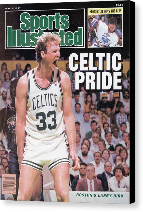 Playoffs Canvas Print featuring the photograph Boston Celtics Larry Bird, 1987 Nba Eastern Conference Sports Illustrated Cover by Sports Illustrated
