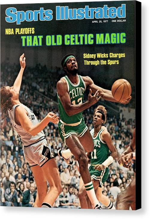 Playoffs Canvas Print featuring the photograph Boston Celtics Sidney Wicks, 1977 Nba Eastern Conference Sports Illustrated Cover by Sports Illustrated