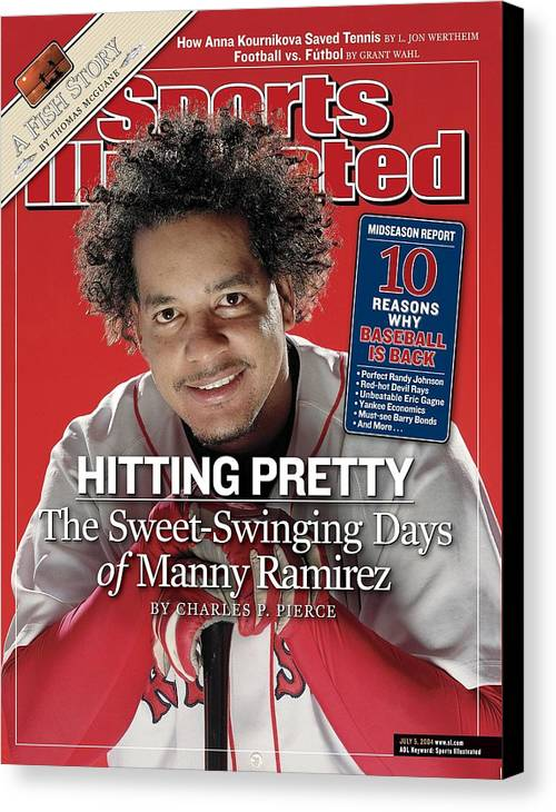 Magazine Cover Canvas Print featuring the photograph Boston Red Sox Manny Ramirez Sports Illustrated Cover by Sports Illustrated