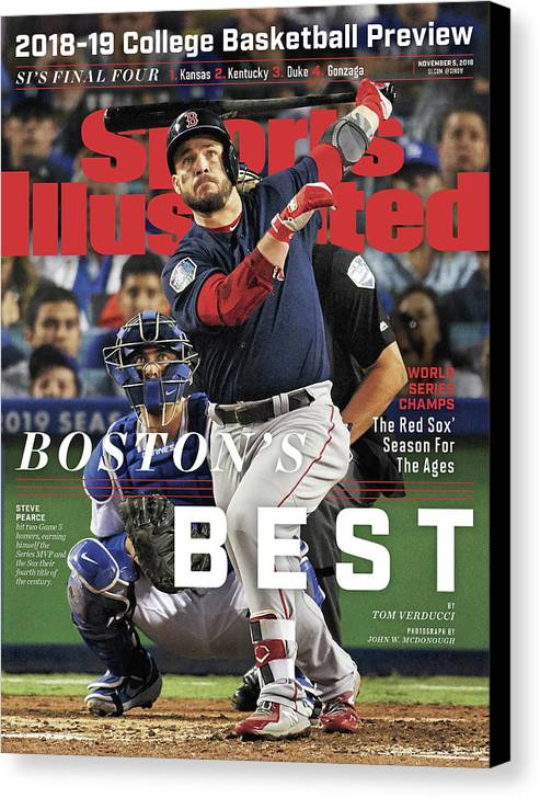 Magazine Cover Canvas Print featuring the photograph Bostons Best Boston Red Sox, 2018 World Series Champions Sports Illustrated Cover by Sports Illustrated