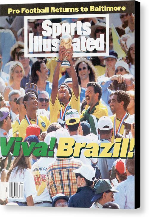 Fifa World Cup Canvas Print featuring the photograph Brazil Marcio Santos, 1994 Fifa World Cup Final Sports Illustrated Cover by Sports Illustrated