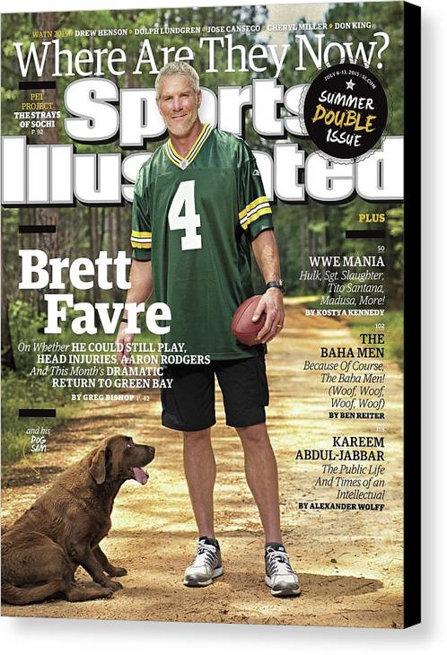 Magazine Cover Canvas Print featuring the photograph Brett Favre, Where Are They Now Sports Illustrated Cover by Sports Illustrated