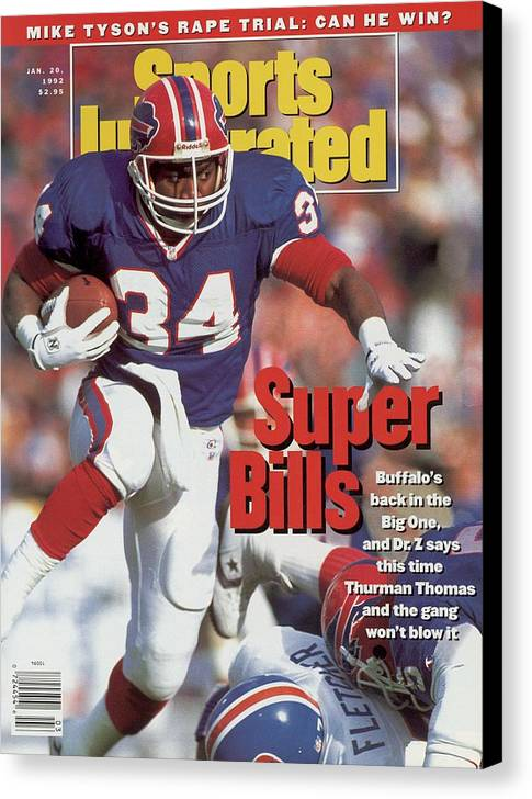 Playoffs Canvas Print featuring the photograph Buffalo Bills Thurman Thomas, 1992 Afc Championship Sports Illustrated Cover by Sports Illustrated