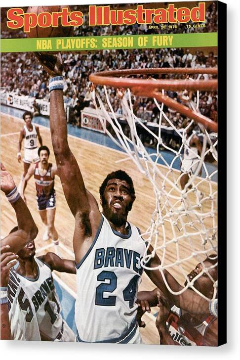Playoffs Canvas Print featuring the photograph Buffalo Braves Garfield Heard, 1975 Nba Eastern Conference Sports Illustrated Cover by Sports Illustrated