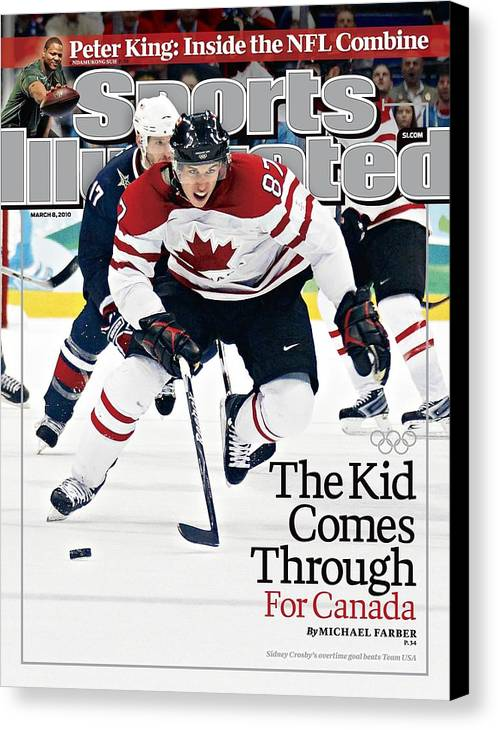 The Olympic Games Canvas Print featuring the photograph Canada Sidney Crosby, 2010 Winter Olympics Sports Illustrated Cover by Sports Illustrated