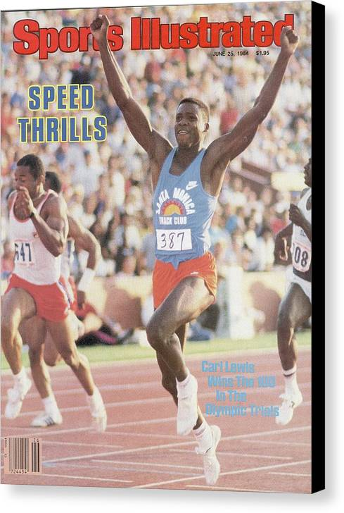 Magazine Cover Canvas Print featuring the photograph Carl Lewis, 1984 Us Olympic Track & Field Trials Sports Illustrated Cover by Sports Illustrated
