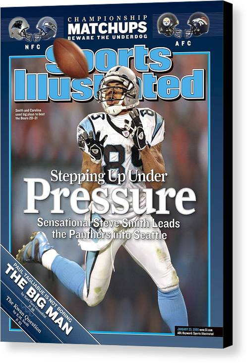 Playoffs Canvas Print featuring the photograph Carolina Panthers Steve Smith, 2006 Nfc Divisional Playoffs Sports Illustrated Cover by Sports Illustrated