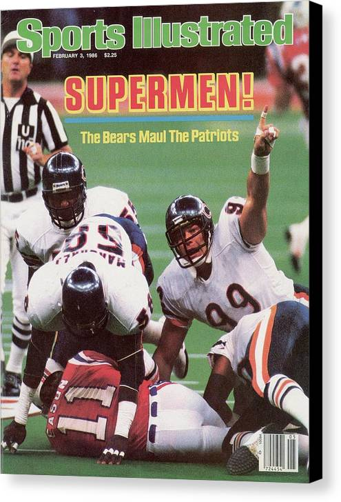 1980-1989 Canvas Print featuring the photograph Chicago Bears Dan Hampton, Super Bowl Xx Sports Illustrated Cover by Sports Illustrated