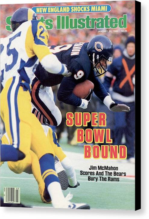 Magazine Cover Canvas Print featuring the photograph Chicago Bears Qb Jim Mcmahon, 1986 Nfc Championship Sports Illustrated Cover by Sports Illustrated