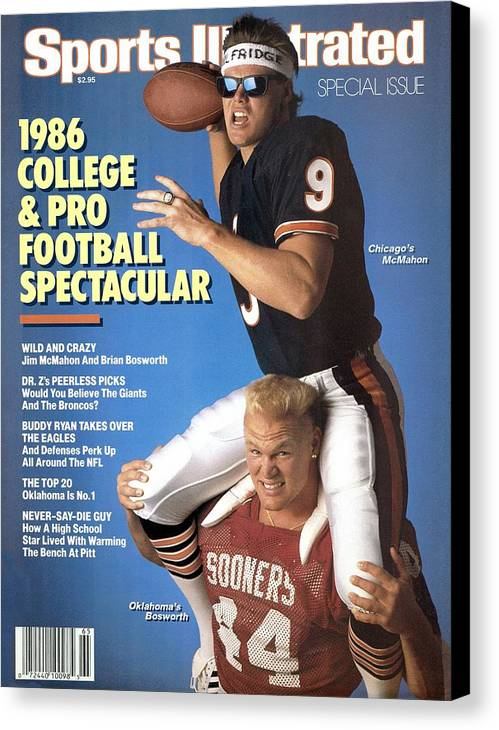 1980-1989 Canvas Print featuring the photograph Chicago Bears Qb Jim Mcmahon And Oklahoma University Brian Sports Illustrated Cover by Sports Illustrated
