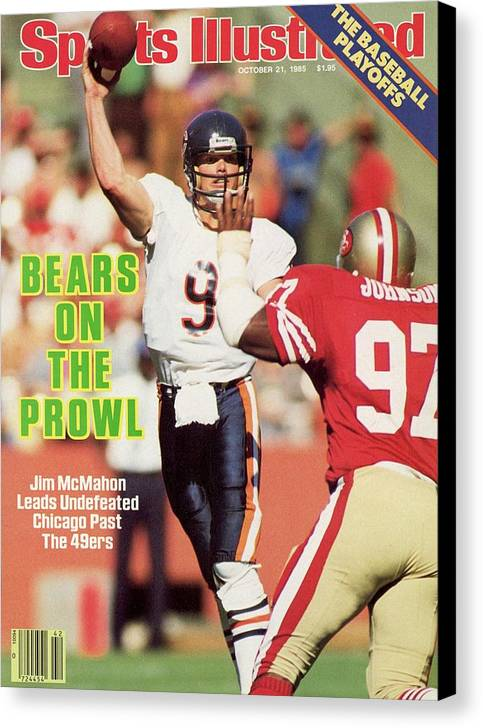 Candlestick Park Canvas Print featuring the photograph Chicago Bears Qb Jim Mcmahon... Sports Illustrated Cover by Sports Illustrated