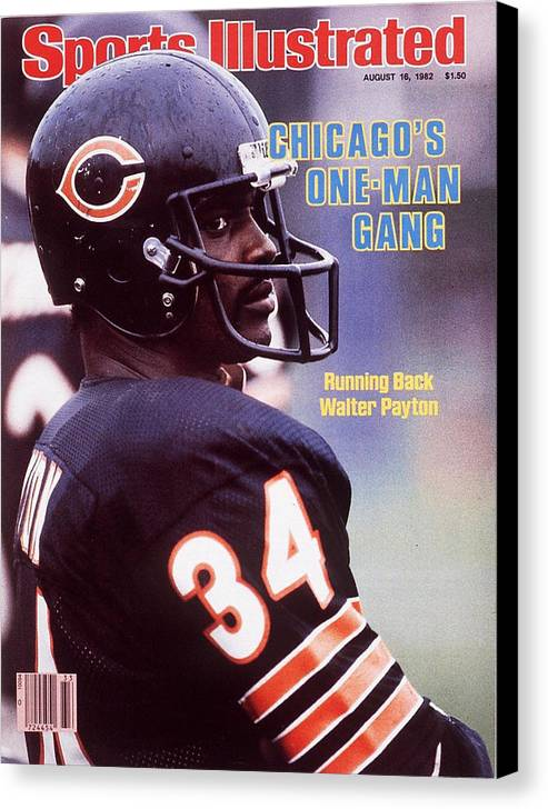 Magazine Cover Canvas Print featuring the photograph Chicago Bears Walter Payton Sports Illustrated Cover by Sports Illustrated