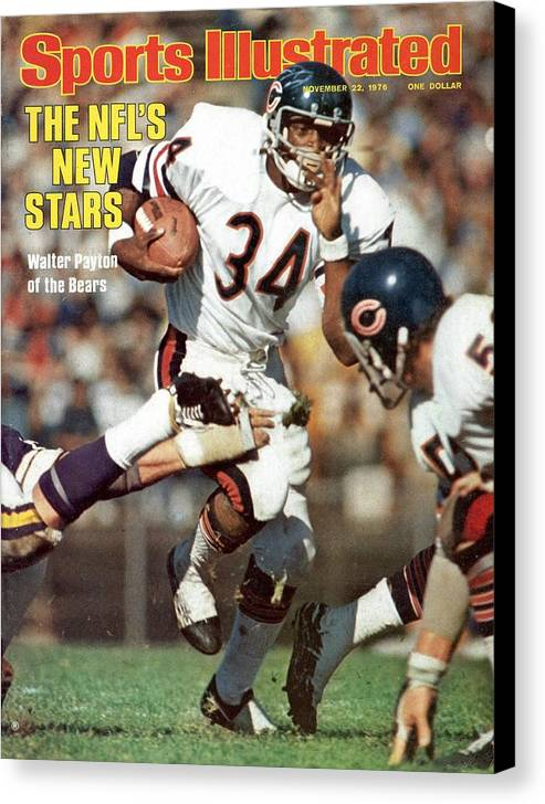 Magazine Cover Canvas Print featuring the photograph Chicago Bears Walter Payton... Sports Illustrated Cover by Sports Illustrated