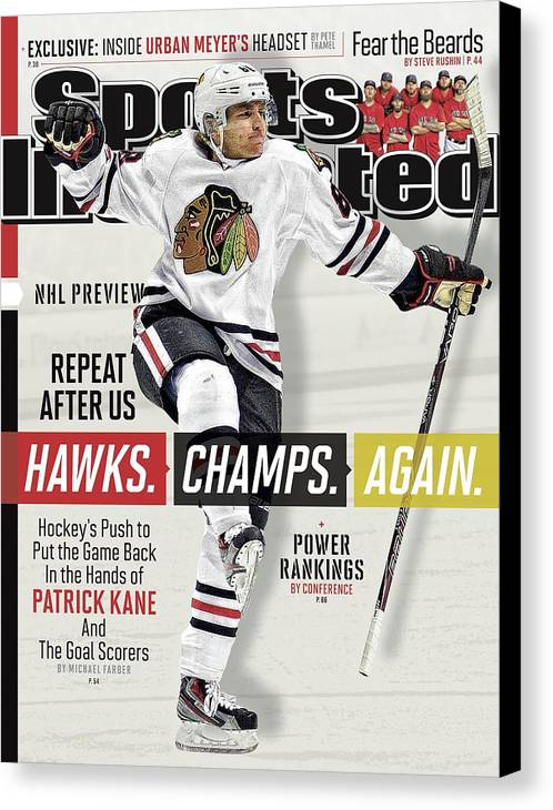 Magazine Cover Canvas Print featuring the photograph Chicago Blackhawks Patrick Kane, 2013-14 Nhl Hockey Season Sports Illustrated Cover by Sports Illustrated