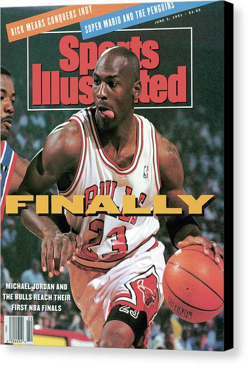 Playoffs Canvas Print featuring the photograph Chicago Bulls Michael Jordan, 1991 Nba Eastern Conference Sports Illustrated Cover by Sports Illustrated